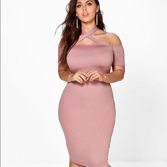 24c4b8248efb9 Boohoo Plus Dresses & Skirts - Plus Jenna Strappy Neck Midi Bodycon Dress